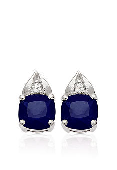 Belk & Co. 10k White Gold Sapphire and White Topaz Earrings  <br>