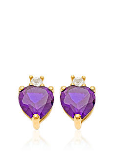 Belk & Co. 10k Yellow Gold Genuine Amethyst and White Topaz Earring