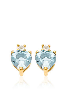 Belk & Co. 10k Yellow Gold Aquamarine and White Topaz Earrings