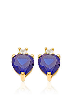 Belk & Co. 10k Yellow Gold Sapphire and White Topaz Earrings <br>