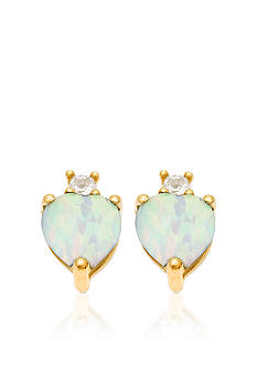 Belk & Co. 10k Yellow Gold Opal and White Topaz Earrings <br>