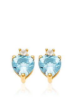 Belk & Co. 10k Yellow Gold Blue and White Topaz Earrings