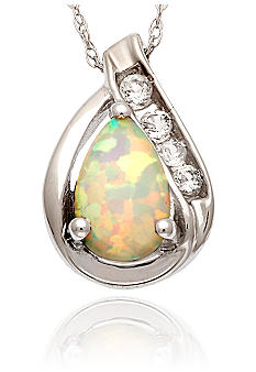 Belk & Co. 10k White Gold Opal and White Topaz Pendant <br>