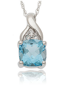 Belk & Co. 10k White Gold Blue Topaz and White Topaz Pendant