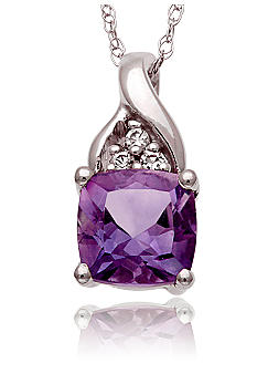 Belk & Co. 10k White Gold Amethyst and White Topaz Pendant <br>