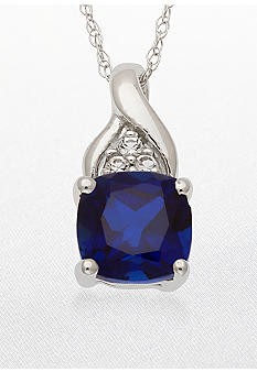 Belk & Co. 10k White Gold Sapphire and White Topaz Pendant <br>