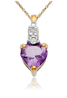 Belk & Co. 10k Yellow Gold Amethyst and White Topaz Pendant