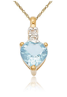 Belk & Co. 10k Yellow Gold Aquamarine and White Topaz Pendant