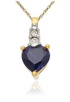 Belk & Co. 10k Yellow Gold Sapphire and White Topaz Pendant