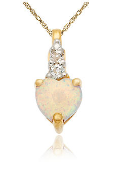 Belk & Co. 10k Yellow Gold Opal and White Topaz Pendant