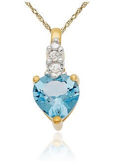 Belk & Co. 10k Yellow Gold Blue Topaz and White Topaz Pendant
