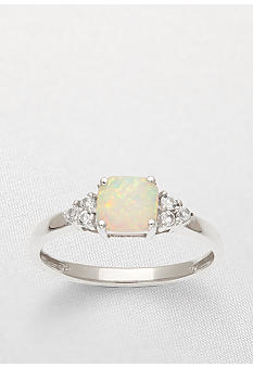 Belk & Co. 10k White Gold Opal and White Topaz Ring