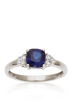 Belk & Co. 10k White Gold Sapphire and White Topaz Ring <br>