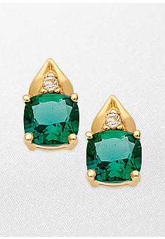 Belk & Co. 10k Yellow Gold Emerald and White Topaz Earrings