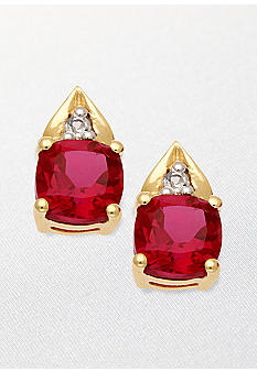 Belk & Co. 10k Yellow Gold Ruby and White Topaz Earrings