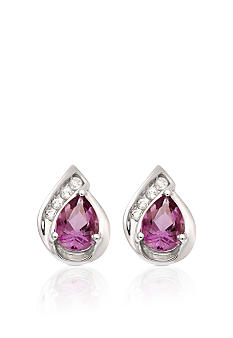 Belk & Co. 10k White Gold Amethyst and White Topaz Earrings