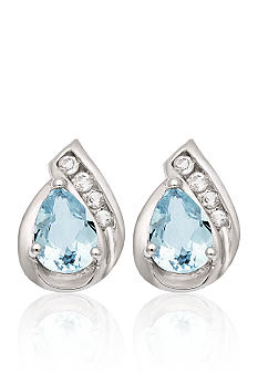 Belk & Co. 10k White Gold Aquamarine and White Topaz Earrings <br>