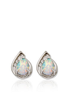 Belk & Co. 10k White Gold Created Opal and White Topaz Earrings