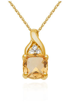 Belk & Co. Citrine and White Topaz 10k Yellow Gold Pendant