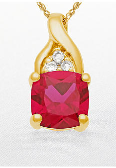 Belk & Co. 10k Yellow Gold Ruby and White Topaz Pendant