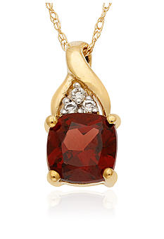Belk & Co. 10k Yellow Gold Garnet and White Topaz Pendant