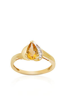 Belk & Co. 10k Yellow Gold Citrine and White Topaz Ring