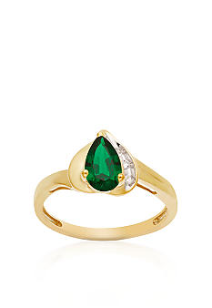 Belk & Co. 10k Yellow Gold Created Emerald and White Topaz Ring <br>