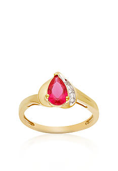 Belk & Co. 10k Yellow Gold Ruby and White Topaz Ring <br>