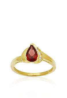 Belk & Co. 10k Yellow Gold Garnet and White Topaz Ring