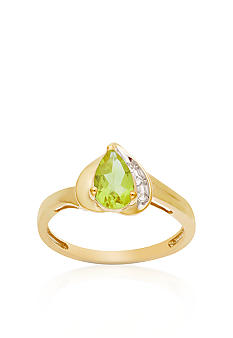 Belk & Co. 10k Yellow Gold Peridot and White Topaz Ring