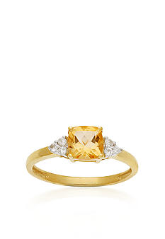Belk & Co. Citrine and White Topaz 10k Yellow Gold Ring