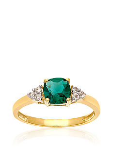 Belk & Co. 10k Yellow Gold Created Emerald and White Topaz Ring