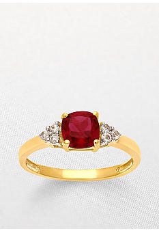 Belk & Co. 10k Yellow Gold Ruby and White Topaz Ring