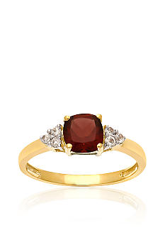Belk & Co. 10k Yellow Gold Genuine Garnet and White Topaz Ring