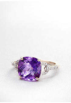 Belk & Co. 10k Yellow Gold Amethyst and Diamond Ring <br>
