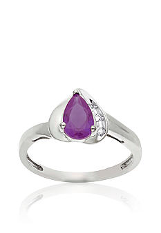 Belk & Co. 10k White Gold Genuine Amethyst and White Topaz Ring