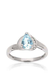 Belk & Co. 10k White Gold Aquamarine and White Topaz Ring  <br>