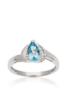 Belk & Co. 10k White Gold Blue and White Topaz Ring