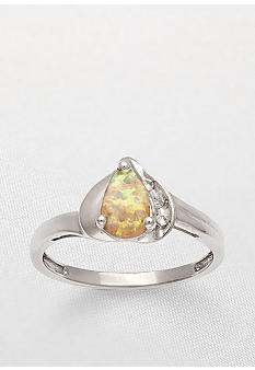 Belk & Co. 10k White Gold Created Opal and White Topaz Ring <br>