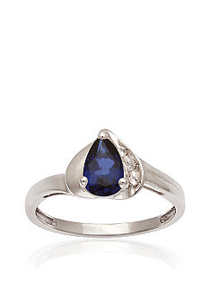 Belk & Co. 10k White Gold Created Sapphire and White Topaz Ring