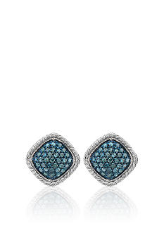 Belk & Co. Blue Square Diamond Fashion Earrings in Sterling Silver