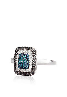Belk & Co. Black and Blue Diamond Ring in Sterling Silver