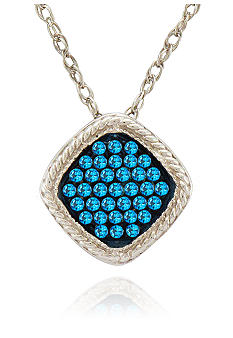 Belk & Co. Blue Square Diamond Pendant in Sterling Silver