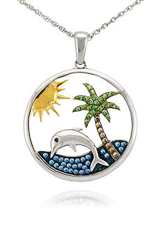 Belk & Co. Diamond Dolphin and Palm Tree Circle Pendant in Sterling Silver