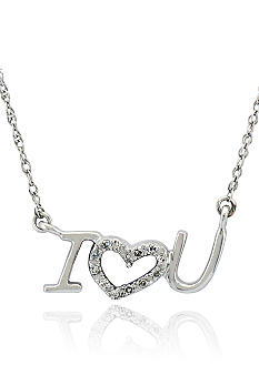 Belk & Co. Diamond 'I Love You' Pendant in Sterling Silver