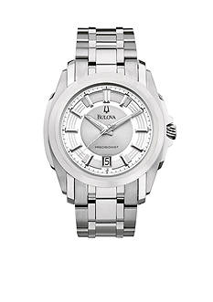 Bulova Precisionist. Men's White Tone Stainless Steel Bracelet
