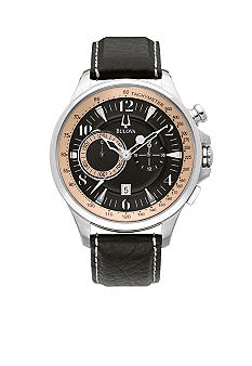 Bulova Adventurer Collection.  Men's Black leather Strap