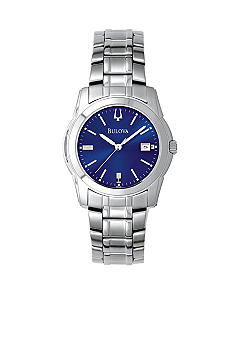 Bulova Men's Stainless Steel Round Blue Dial Watch