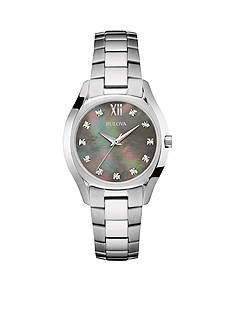 Bulova Women's Stainless Steel Diamond Dial Bracelet