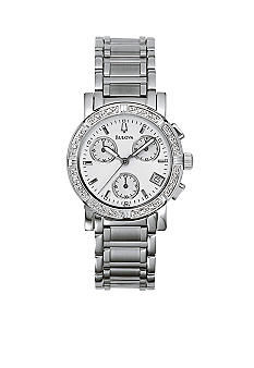 Bulova Ladies Stainless Steel 16 Diamond Bezel Chronograph Watch